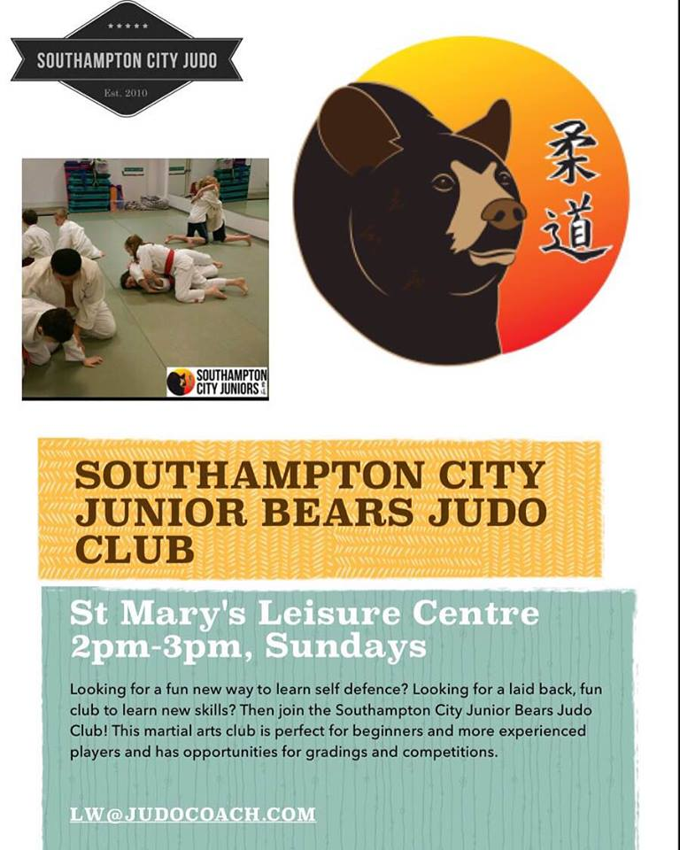 Junior bears Judo at Southampton City Judo Club. SUndays 2pm.